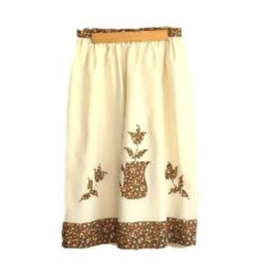 Vintage 1970's Cream & Brown CALICO FLORAL Skirt